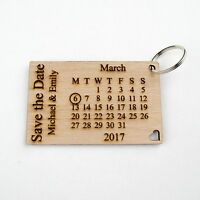 Personalised Wooden Save the Date Keyrings. Wedding Invitations Rustic Calendar.