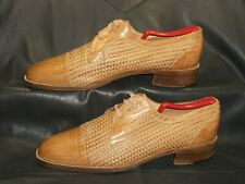 Mino men's natural tan woven leather lace up cap toe oxford shoes size 9 1/2