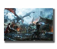 H772 The Dragon Skyrim Hot Video Game Custom Fabric Poster Art 24x36 Inch