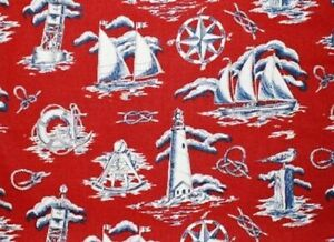 Town Toiles NAUTICAL Fabric-Lighthouse Sailboats Compass Rose Knots on Red - BTY