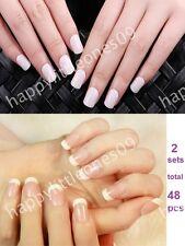 2 sets(48pcs)Pre-designed Manicure False Nail Tips French w Nail Tape & File New
