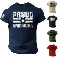 Proud American USA Flag Distressed Men T Shirt Patriotic Cotton Tee S - 2XL