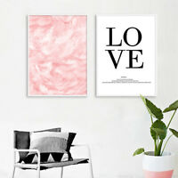 Pink Feather Wall Art Canvas Nordic Poster Abstract Print Living Room Decoration