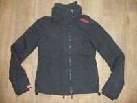 SUPERDRY Technical  Windcheater Women's Black & Pink Zip Jacket Coat Small 10