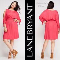Lane Bryant Cold Shoulder Smocked Waist Dress - Pink Plus Size 22/24