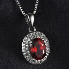 White gold finish oval red garnet & pendant chain created diamond necklace