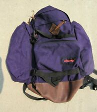 Vintage Eastpak Backpack Blue Hiking School Made in USA Leather Bottom