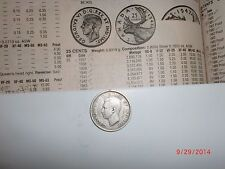 "- CANADA  - SILVER "" 25  CENTS ""  COIN - 1943 - KING GEORGE VI - KM# 35 - VF"