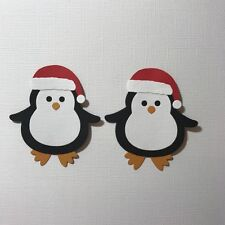 2 LARGE PENGUINS IN HATS EMBELLISHMENTS DIE CUTS SANTA BEANIE PARTY HAT