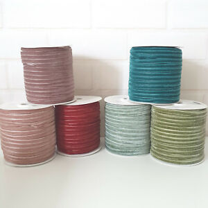 6mm or 9mm Velvet Ribbon. Hair Bow Bands Pink Green Natural Black Red Thin Card