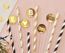25 Metallic Gold Foil Personalized Party Drink Stirrers Wedding Birthday Shower