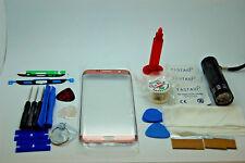 Samsung S7 Edge Oro Rosa Kit di Riparazione Vetro Schermo Frontale, Colla Torcia