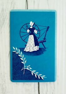 Swap Card, Monochrome Playing Card, Olden Day Lady With Spinning Wheel
