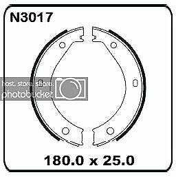Bmw 6 Series 180mm 6 Series E24 10/1975-10/1989 REAR Handbrake shoe SET N3017