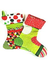 2 Handmade Quilted Christmas Stocking, Red, Green and White w/ Decorative Stitch
