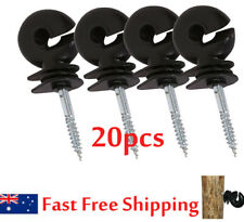 20pcs Screw In Electric Fence Timber Wood Post Ring Insulators Tape Cord Wire