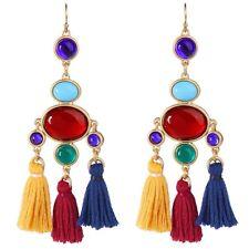 BOHO RED GREEN BLUE Crystal Rhinestone Tassel Gold Chandelier Drop Hook Earrings