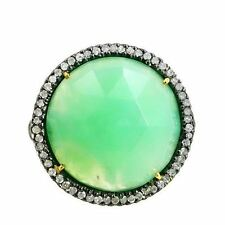 Chrysoprase Gemstone 14 K Gold Cocktail Ring 925 Silver Pave Diamond Jewelry CY