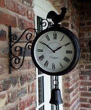 Cockerel Bell Outdoor Station Clock Garden Wall Outside Bracket 20cm