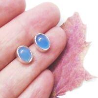 Chalcedon blue blau oval Design Ohrringe Ohrstecker 925 Sterling Silber neu new