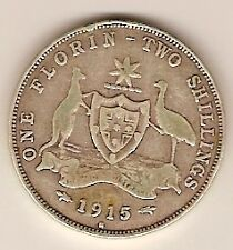 AUSTRALIAN STERLING SILVER FLORIN TWO SHILLING - 1915 H