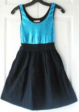 Candie's Juniors Teal Black Stretch Sequin Summer Cocktail Party Dress Size 1