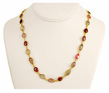 "Natural Sapphire Faceted Necklace Pink Multi 14k gold chain Vermeil Bezel 24 "" S"