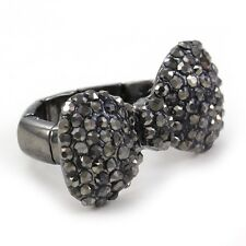Gray Hematite Ribbon Bowtie Party Ring Adjustable Stretch Band Valentine's Day