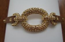 New BROWN Leather and Golden Brown Amber Crystal Adjustable Bracelet Wristband