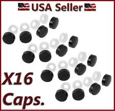 16 Black Fasteners Caps License Plate/Tag Frame Auto car truck screw/nut covers