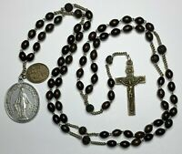 "† SCARCE ANTIQUE SEVEN DECADE FRANCISCAN BOVINE ROSARY NECKLACE 42"" & MEDALS †"