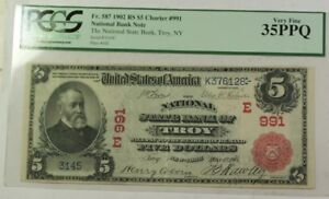 National State Bank of Troy NY 1902 $5 Red Seal Note Fr. 587 #991 PCGS VF-35PPQ