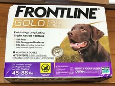 Frontline Gold For Dogs 45-88 lbs. 6 Monthly Doses NEW Triple Action Merial USA