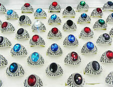 Wholesale Mixed Jewelry Lots 20pcs Men's Silver Plated Rhinestone Rings Free