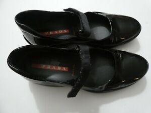 VTG Prada Sport Womens 36 Black Patent Leather Mary Jane Shoes Comfort Hook Loop
