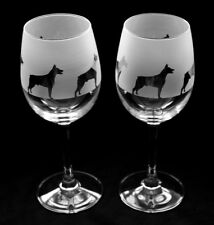 More details for doberman pinscher dog wine glasses classic tulip shape..boxed