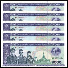 Lot 5 PCS, Laos 1000 Kip, 2003, P-32, UNC