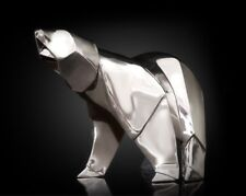 More details for polar bear silver miniature sculpture by nomi origami wildlife gift
