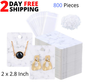 500 Pcs Marble Earring Necklace Bracelet Display Card Holder Set Include 100 Pcs 2 x 2.8 Jewelry Display Cards 100 Pcs 1.8 x 4.3 Foldable Card 200 Pcs Earring Backs 100 Pcs Self-Seal Bags