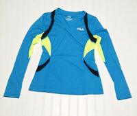 FILA SPORT Women's Small Activewear V Neck  Top Turquoise Blue Yellow Black