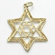 Vintage 14k yellow gold Double Jewish Star David Pendant Filigree Large Judaic