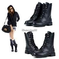 LADIES WOMENS COMBAT ARMY MILITARY BIKER FLAT LACE UP WORKER ANKLE BOOTS 6 SIZE