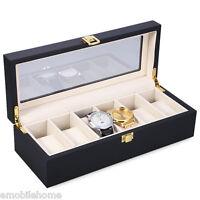 6 Slots Wood Watch Display Case Watches Box Glass Top Jewelry Storage Organizer