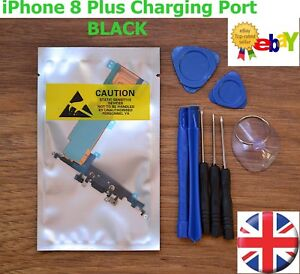 For iPhone 8 PLUS Charging Port Dock Connector Replacement Microphone Flex BLACK