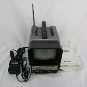 "Vintage 1980 Panasonic TR-5041P 5"" B&W Portable Television with AM/FM Radio"