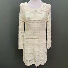 H & M Womens Dress with Slip Medium Ivory Cream Crochet Long Sleeve