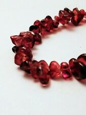 "Handmade Red Glass Chipstone Bracelet 7"" long"