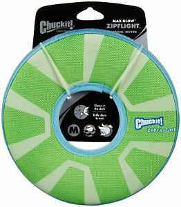 Chuckit ZIPFLIGHT Dog Fetch Toy Max Glow In The Dark Frisbee Ring Medium