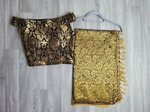 Lace Saree Sari with Ready Stitched Blouse Black Gold Brocade Size XS 6