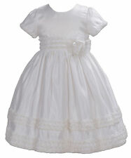 Satin Flower Girl Bridesmaid Party Dress Pink Ivory 2 3 4 5 6 7 Years